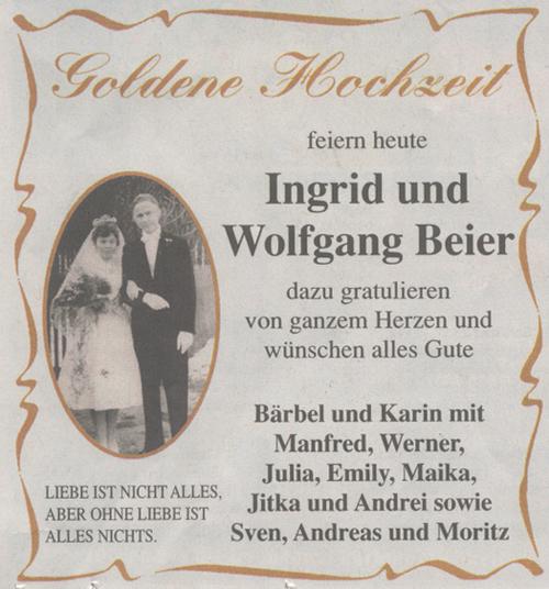 Und wolfgang beier aus westerhausen feiern heute goldene hochzeit